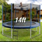 Trampoline Round Exercise Jumping Pad with Net Safety Collapsible Design 14ft