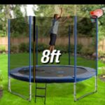 Trampoline Round Exercise Jumping Pad with Net Safety Collapsible Design 8ft